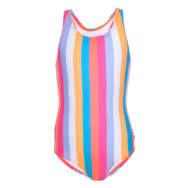 LITTLE GIRLS' COLORFUL STRIPED ONE-PIECE SWIMSUIT (4-7) - Neon Coral