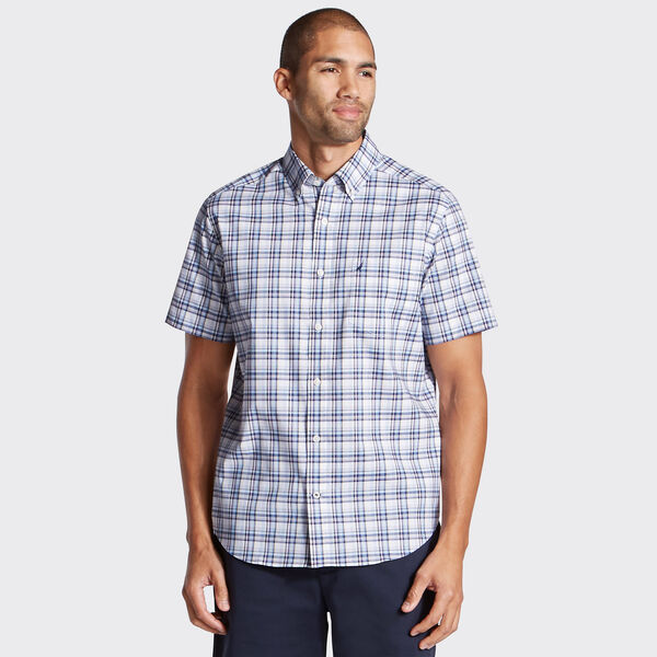 Wrinkle-Resistant Short Sleeve Poplin Shirt in Plaid - Blue Depths