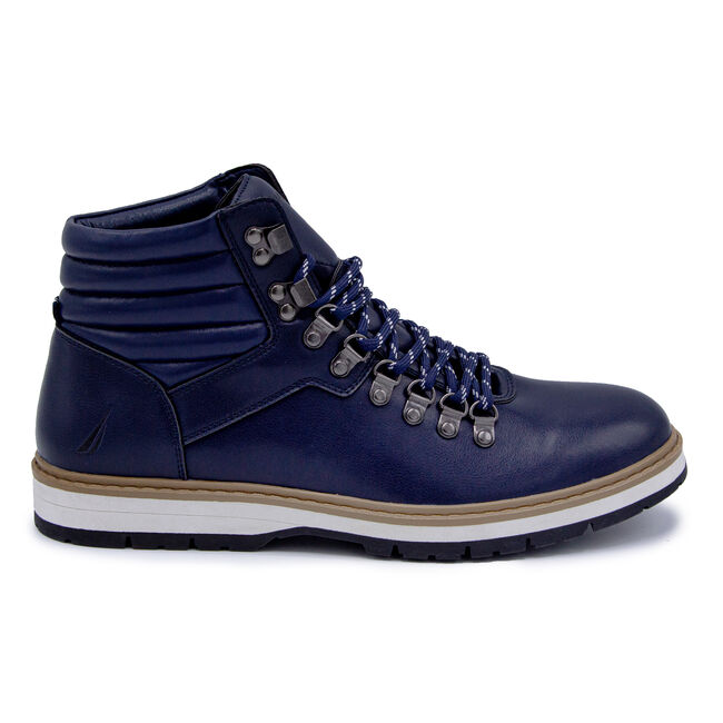 STACKED LACE-UP BOOTS,Navy,large