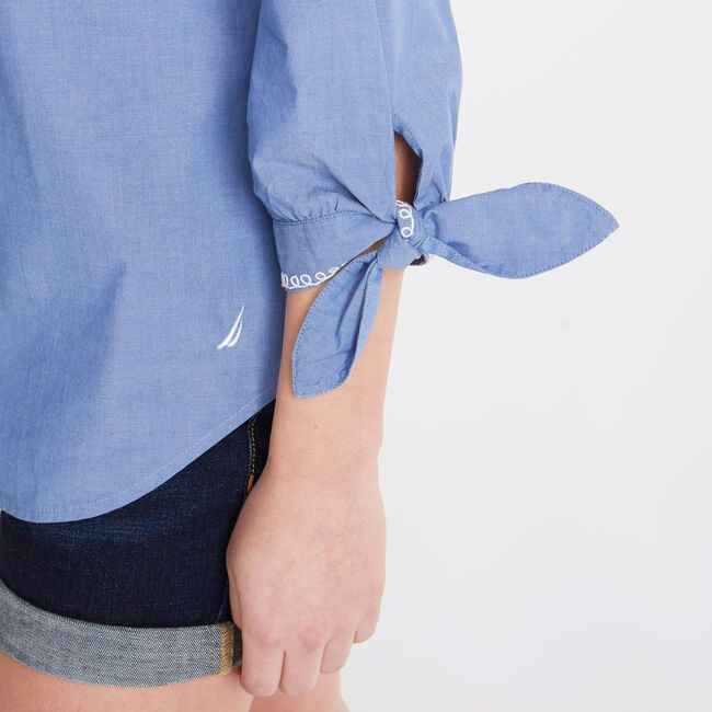 Embroidered Chambray Tie Cuff Top,Limoges,large