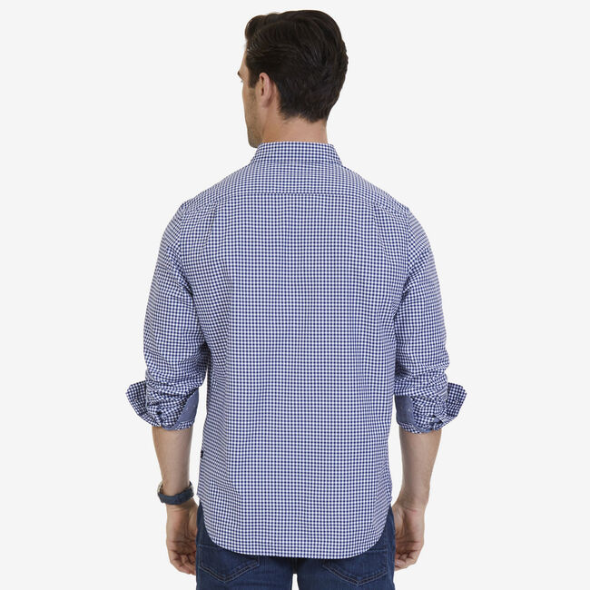Gingham Poplin Classic Fit Long Sleeve Shirt,J Navy,large