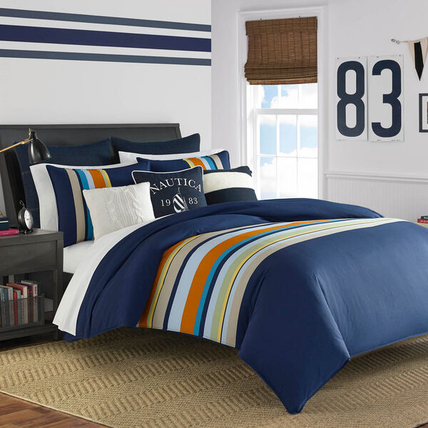 Sailing Stripe Comforter Set - Pure Dark Pacific Wash