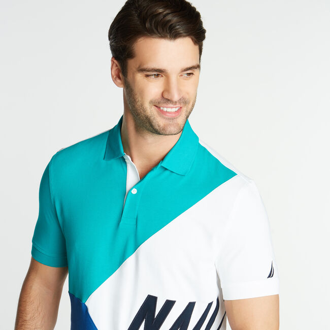 CLASSIC FIT JERSEY POLO IN DIAGONAL COLORBLOCK,Gulf Coast Teal,large