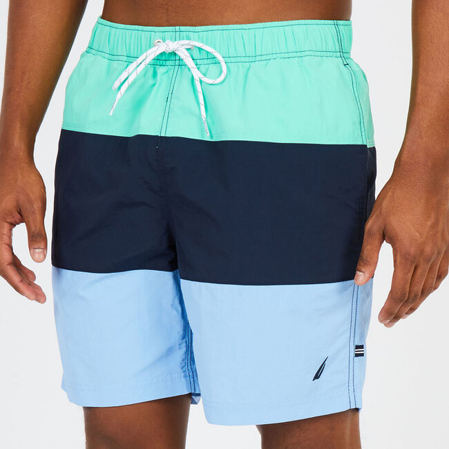 Big & Tall Colorblock Swim Trunks,Mist Green,large