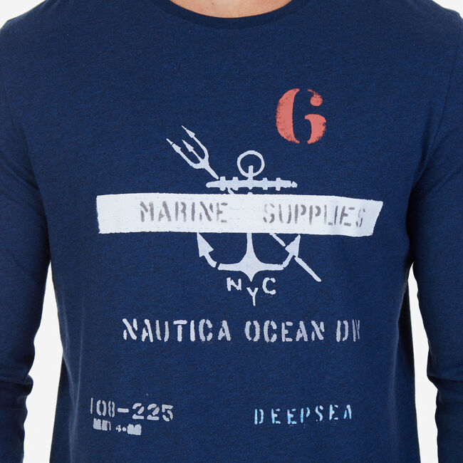 Marine Supplies Graphic Long Sleeve T-Shirt,Bayberry Blue,large