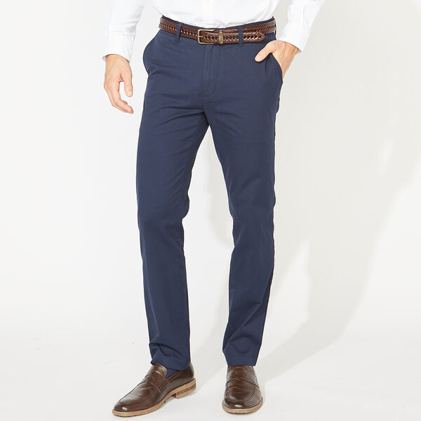 SLIM FIT STRETCH TWILL PANTS - Navy