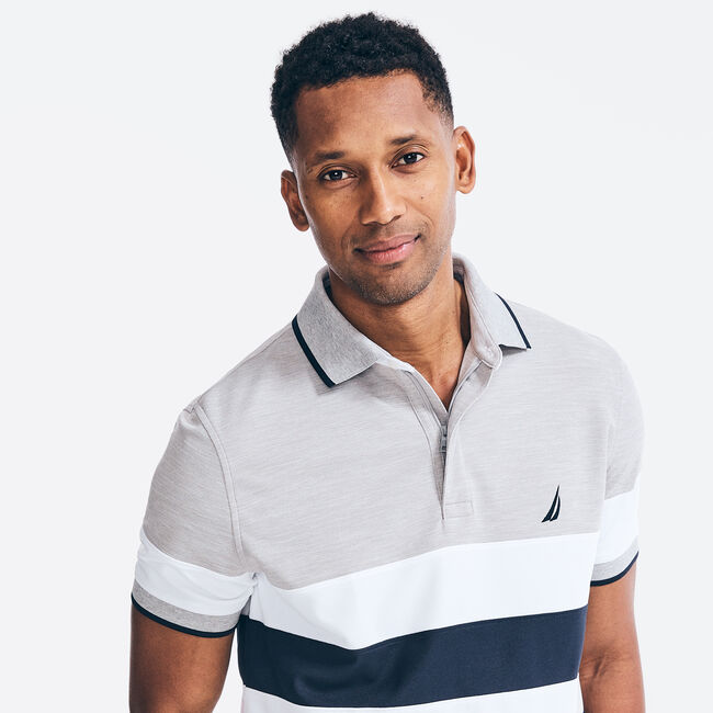 NAVTECH CLASSIC FIT STRIPED POLO,Grey Heather,large