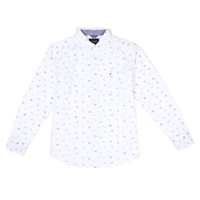 Little Boys' Long Sleeve Signal Flag Button Down (4-7),White,large