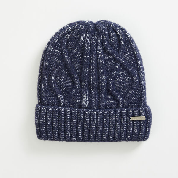 CABLE-KNIT CUFFED BEANIE - Navy