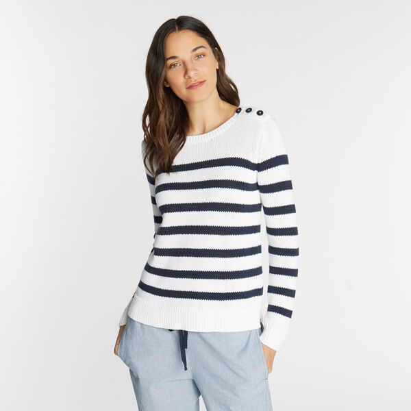 CLASSIC FIT CREWNECK SWEATER IN STRIPE - Bright White