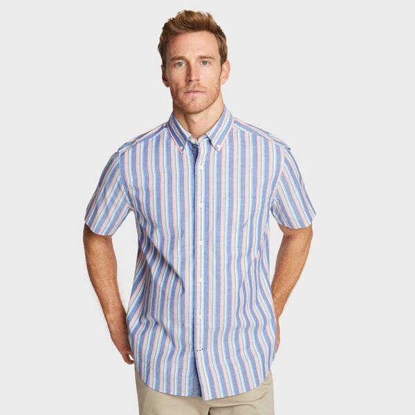 BIG & TALL SHORT SLEEVE SHIRT IN VERTICAL STRIPE - Clear Sky Blue
