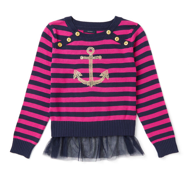 Girls' Striped & Anchor Sweater (8-16),Red Combo,large