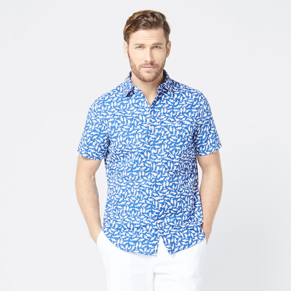 CLASSIC FIT SHARK PRINT SHIRT - Windsurf Blue