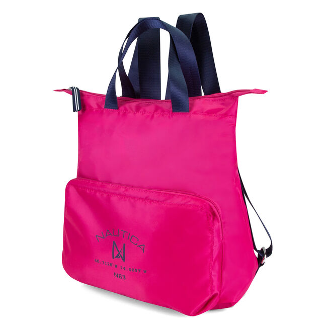 New Tack Logo Packable Backpack,Barely Pink,large