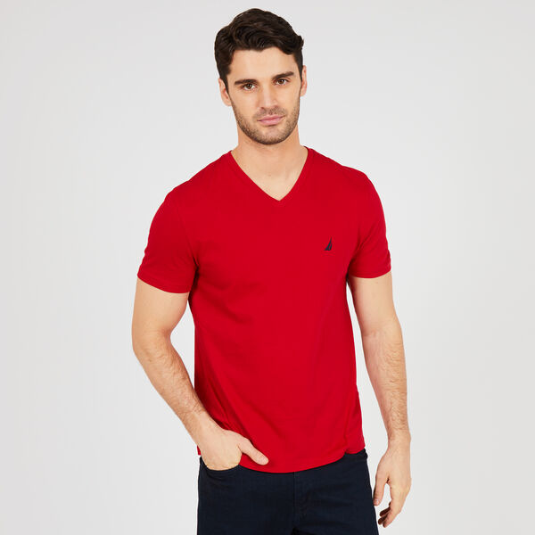 V-Neck Short Sleeve T-Shirt - Nautica Red