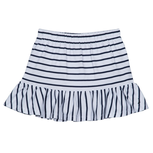 Girls' Striped Ruffle Skirt (7-16),White,large
