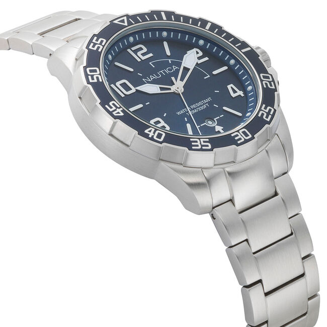 Pilot House Stainless Steel with Navy Watch,Ice Blue,large