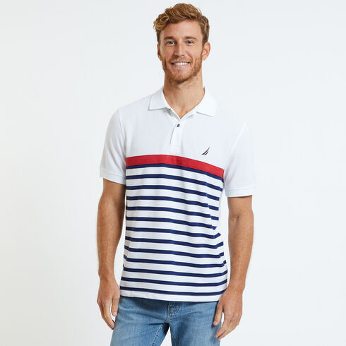 Striped Classic Fit Short Sleeve Performance Polo  - Bright White