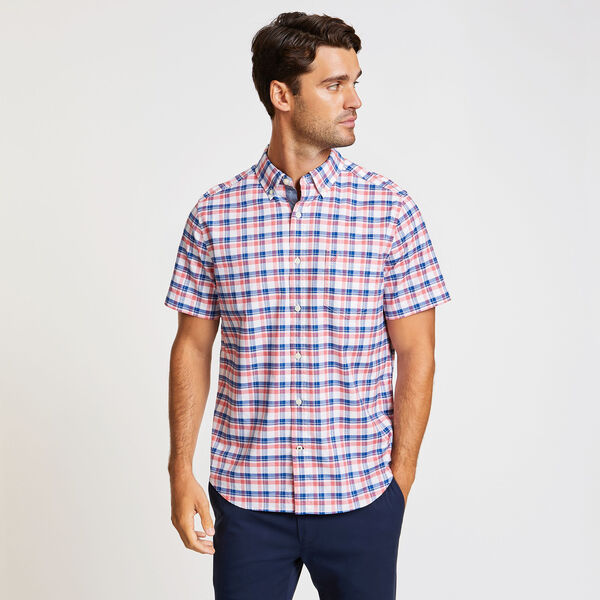 Short Sleeve Oxford Plaid Classic Fit Shirt - Spiced Coral