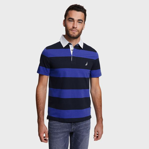 Big & Tall Stripe Shipman Polo - Navy