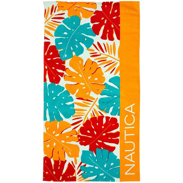 PALM LEAF PRINT BEACH TOWEL - Orange