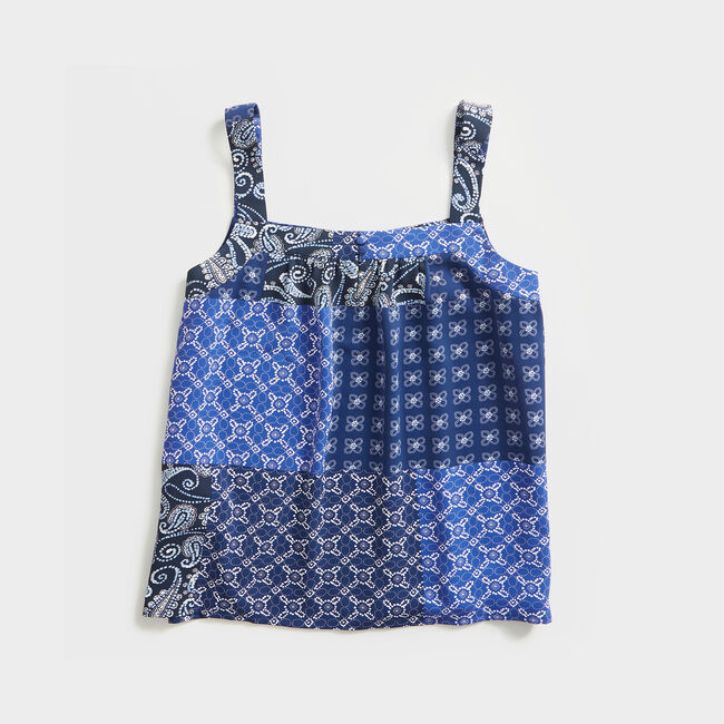 BATIK MIX PRINT SLEEVELESS TOP,Blue Depths,large