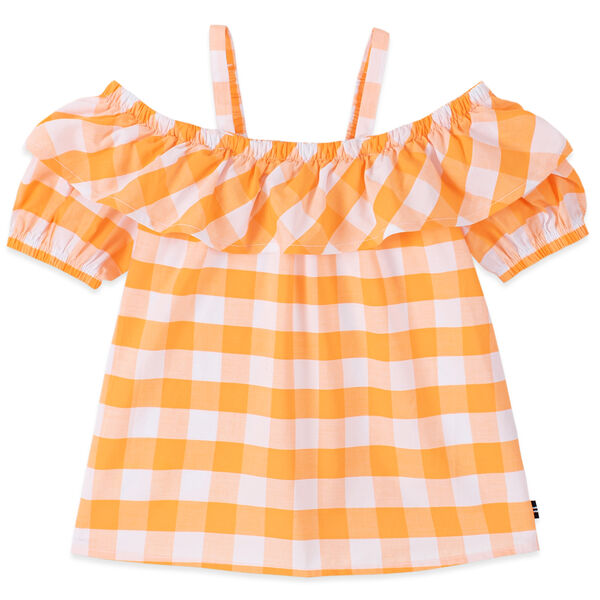 GIRLS' GINGHAM COLD SHOULDER TOP (8-20) - Life Vest Wintl
