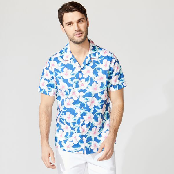 CLASSIC FIT FLORAL PRINT CAMP SHIRT - Windsurf Blue