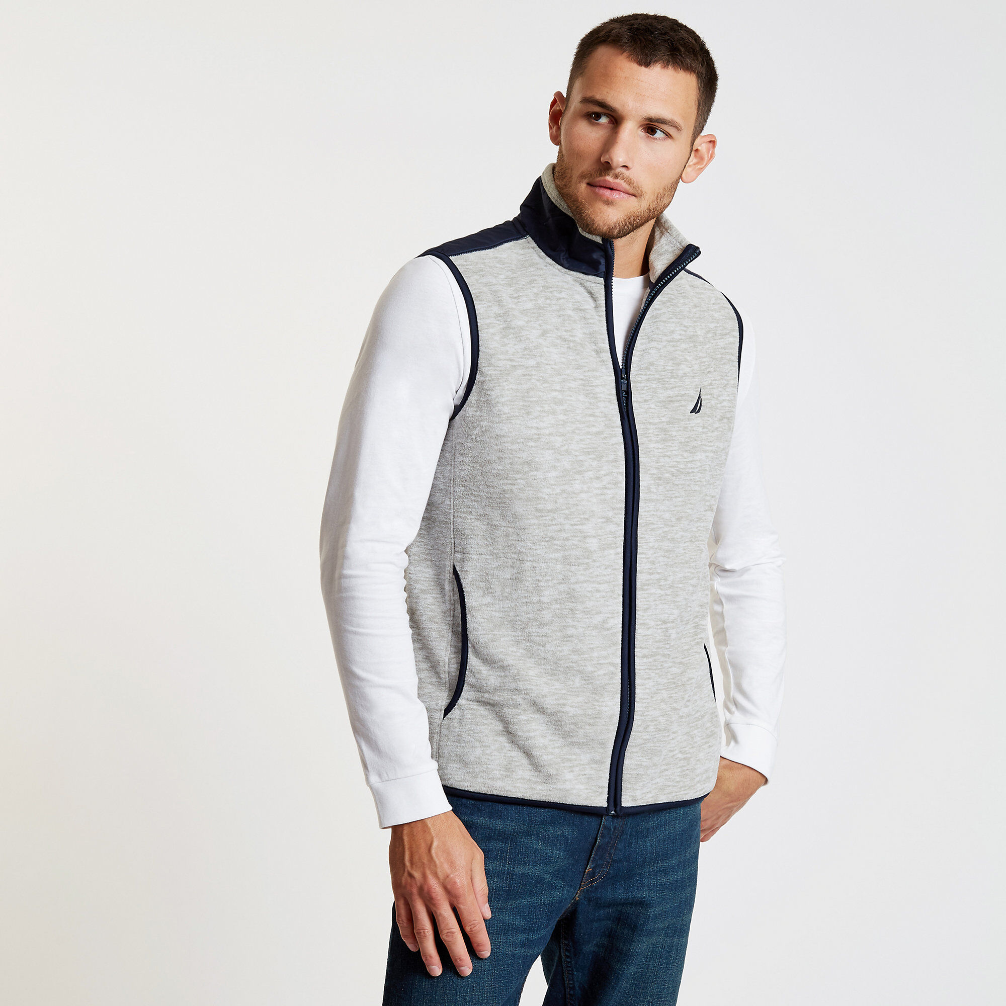 Nautica Men's Mock-Neck Colorblock Full-Zip Vest (Grey heather/