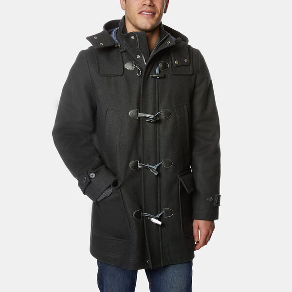 Hooded Toggle Front Coat - Charcoal