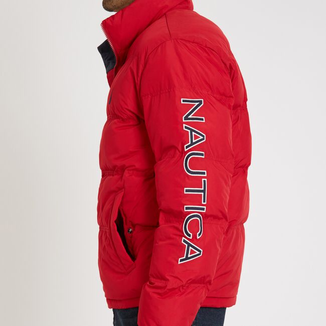 Arctic Puffer Bomber Jacket,Nautica Red,large