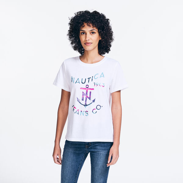 NAUTICA JEANS CO. FOIL GRAPHIC T-SHIRT - Bright White