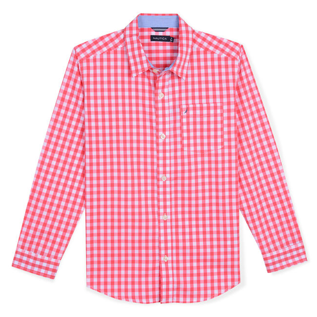 Toddler Boys' Mason Woven Gingham Shirt (2T-4T),Camellia Rose,large