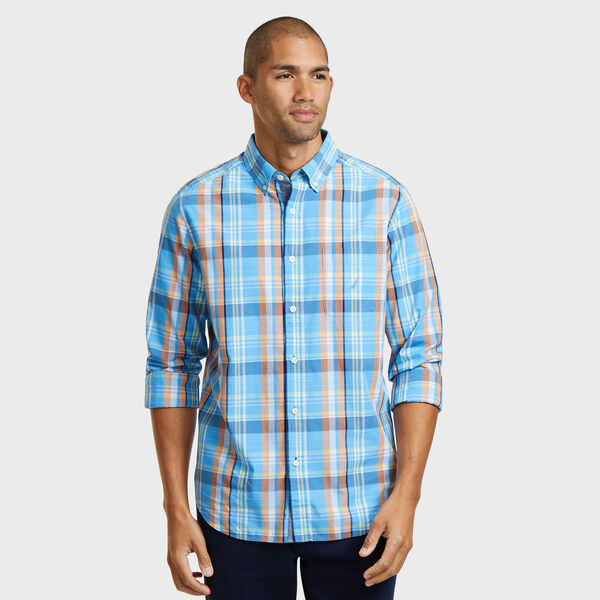 LONG SLEEVE PLAID POPLIN  SHIRT IN CLASSIC FIT  - Washed Navy Heather