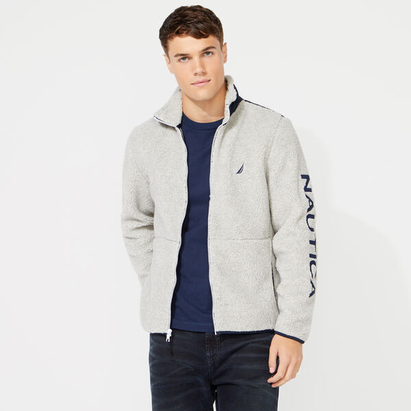 SHERPA MIXED MEDIA FULL ZIP HOODIE - Grey Heather