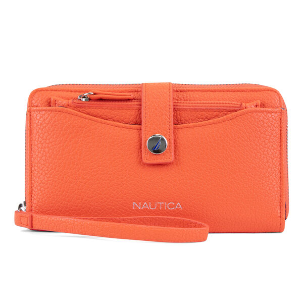 ZIP AROUND WRISTLET WITH REMOVABLE POUCH - Orange