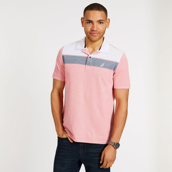 Short Sleeve Colorblock Classic Fit Polo - Spiced Coral