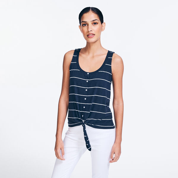 STRIPED TIE-FRONT BUTTON SLEEVELESS TOP - Stellar Blue Heather