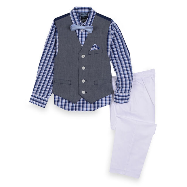Toddler Boys' Textured Vest Set (2T-4T),Pure Deep Sea Wash,large