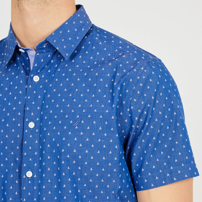 Sailboat Motif Classic Fit Button Down,Monaco Blue,large