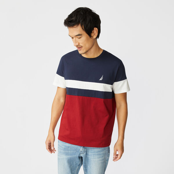 COLORBLOCK PIECED T-SHIRT - Navy