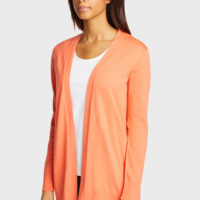 Classic Fit Open Cardigan,Livng Coral,large