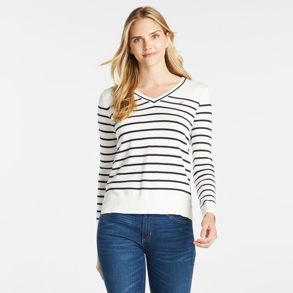 STRIPE V-NECK SWEATER - Marshmallow