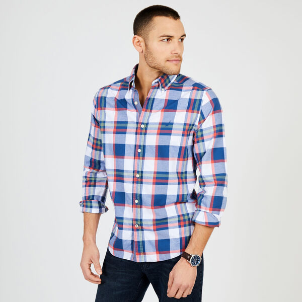 Long Sleeve Brushed Twill Plaid Classic Fit Shirt - Lakeside Blue Wash