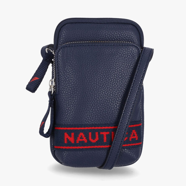 PEBBELED EMBORIDERED LOGO CROSSBODY PHONE BAG - Navy