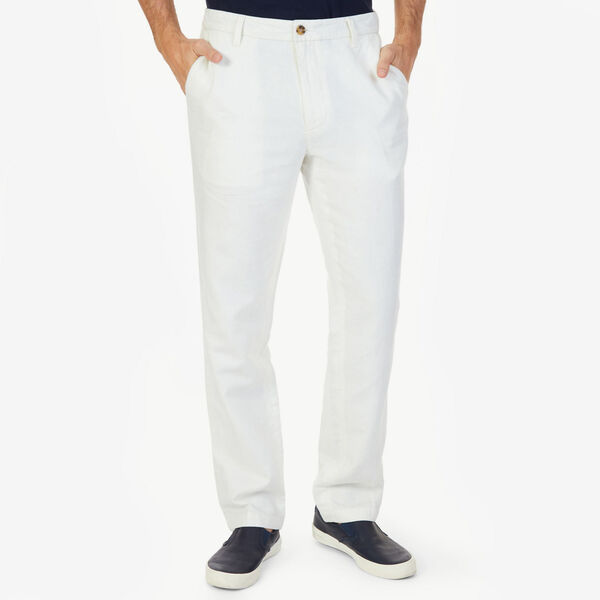 Flat Front Classic Fit Linen-Blend Pants - Marshmallow