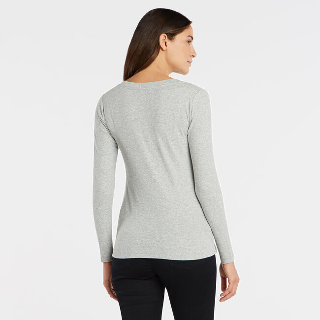 SOLID RIBBED HENLEY,Fog,large