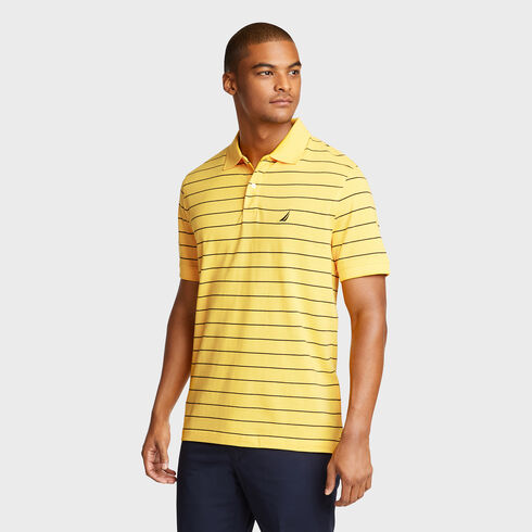 Classic Fit Piqué Polo in Breton Stripe - Sunfish