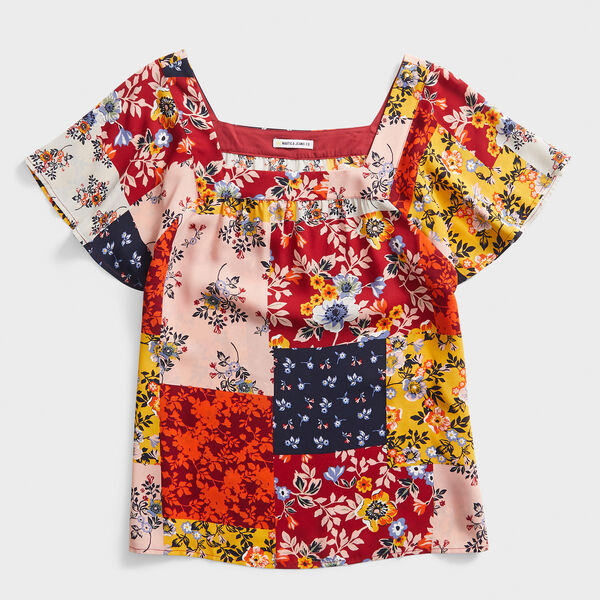 NAUTICA JEANS CO. VINTAGE FLORAL PATCHWORK SQUARE NECK TOP - Rio Red