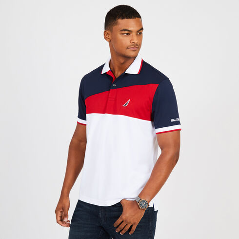 Short Sleeve Colorblock Classic Fit Tech Polo - Navy
